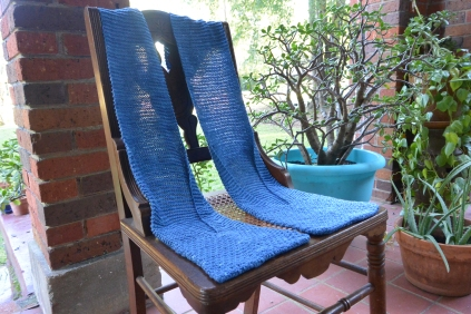 Pocket scarf on antique chair.
